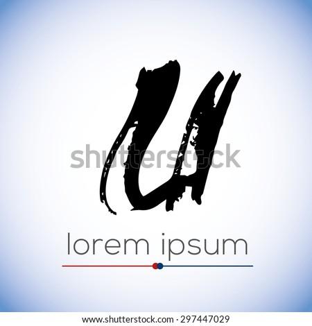 U letter calligraphic hand drawn logo (sign, symbol, icon) - stock vector