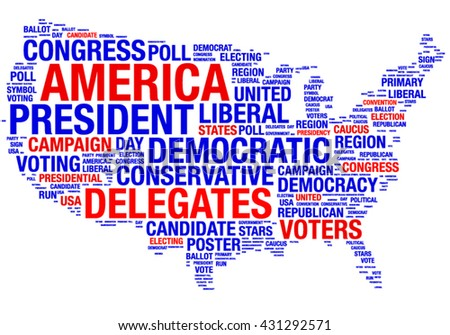 U.S.A.silhouette map elections vector tag cloud