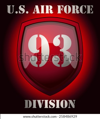 U.S. Air Force Division Sign on a Glossy Glowing Shield, Vector Illustration. - stock vector