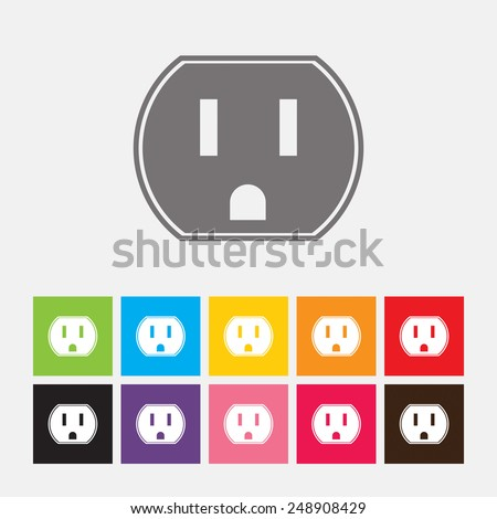 U.S. electric household outlet icon - Vector - stock vector