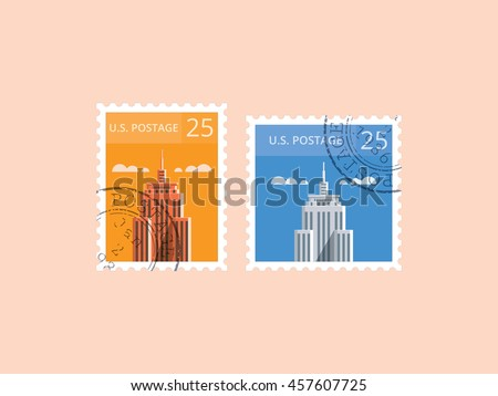 U.S. Postage Stamp,  Horizontal and square shape - stock vector