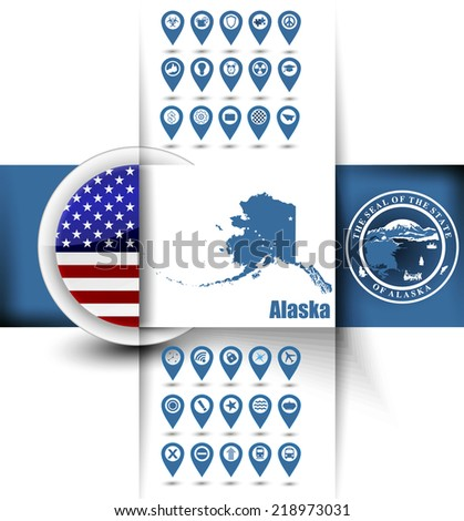 U S State Of Alaska Map Contours With Gps Icons Usa Flag Icon And Simple State