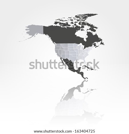 U.S. states map against the background of north america with the shadow vector - stock vector