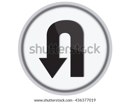 U-Turn Roadsign - road sign with turn symbol isolated.Vector - stock vector