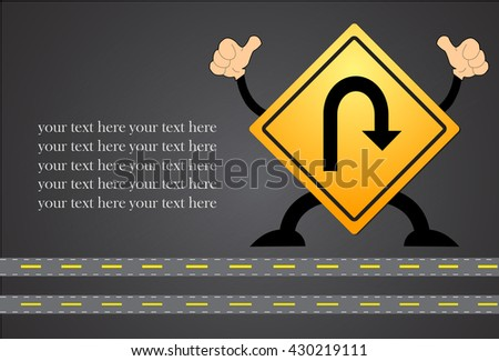 U-Turn Roadsign - Yellow road sign with turn symbol isolated on blackboard - stock vector