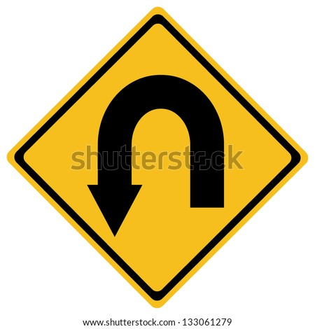 U-Turn Roadsign - Yellow road sign with turn symbol isolated on white background - stock vector