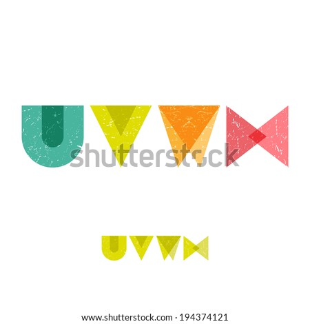 U V W X - Grunge Flat Alphabet Set - Vector Illustration - stock vector