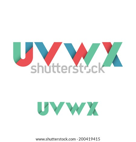 U V W X Modern Colored Layered Font or Alphabet - Vector Illustration - stock vector
