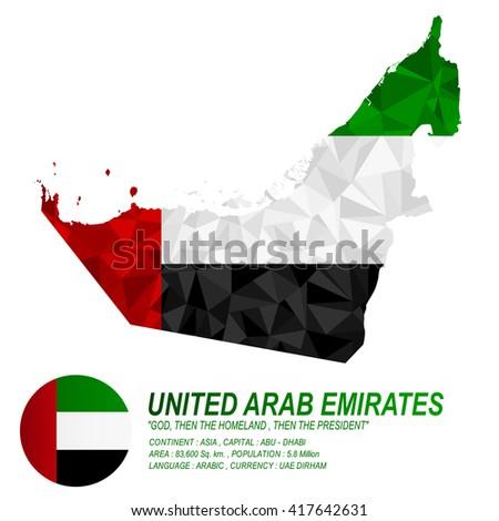 UAE flag overlay on UAE map with polygonal style.(EPS10 art vector) - stock vector