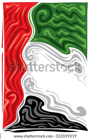 UAE Flag, United Arab Emirates Concept, green, red, black, white. - stock vector