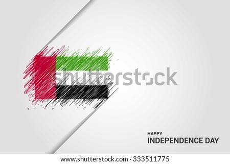 UAE Happy independence day scribble flag. Hand drawn Country flag on Gray crumbled paper. vintage background wallpaper vector illustration. - stock vector
