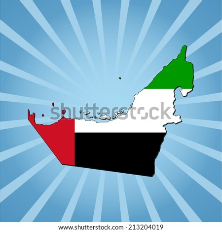 UAE map flag on blue sunburst illustration - stock vector