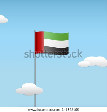 UAE national flag in te floating clouds. Stylized vector illustration. - stock vector