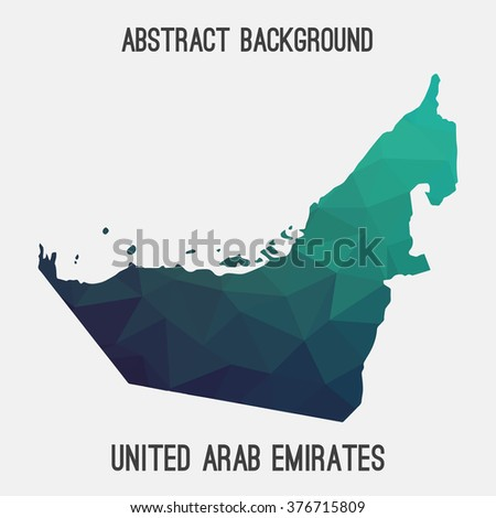 UAE,United Arab Emirates map in geometric polygonal style.Abstract tessellation,modern design background.Vector illustration. - stock vector