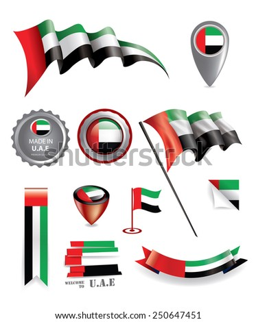 UAE Vector Flag, Made in United Arab Emirates Seals (vector Art) - stock vector