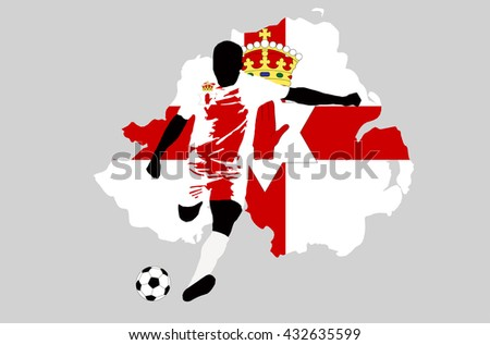 UEFA Euro 2016 vector illustration of football player run hit ball. Group C participant. Soccer team player in uniform with state national flag of Northern Ireland original colors Northern Ireland map - stock vector