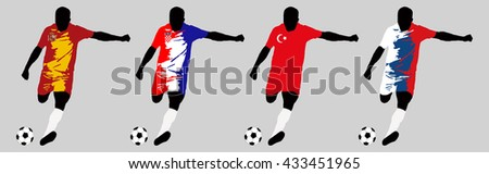 UEFA Euro 2016 vector illustration of football player run hit ball. Group D participants. Vector set of football players in european countries flags uniform original colors.Flat style design. Clip art - stock vector