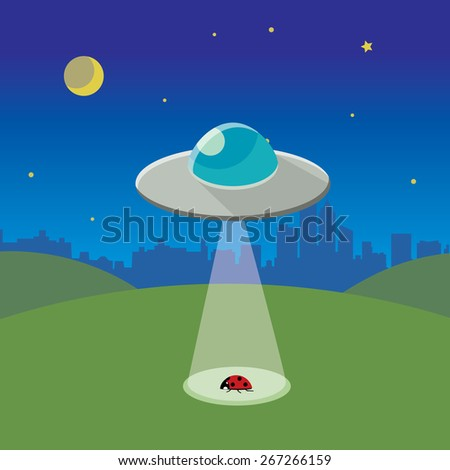ufo abducting ladybug, spaceship in night landscape  - stock vector