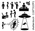 UFO Alien Invaders Stick Figure Pictogram Icon - stock photo