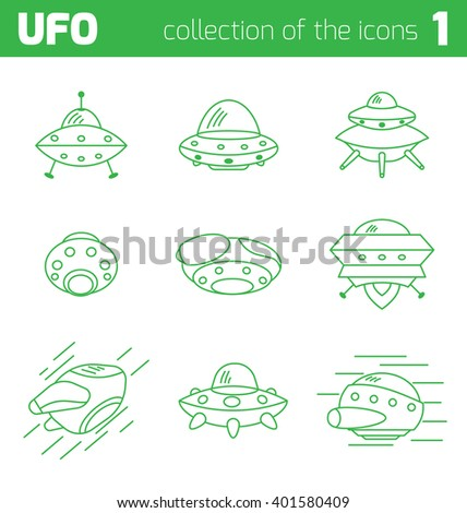 ufo alien ships icon part one - stock vector