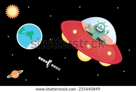 UFO and Outer Space - stock vector