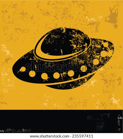 UFO design on yellow background,yellow vector - stock vector