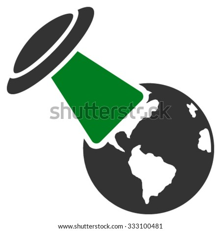 Ufo Explores Earth vector icon. Style is bicolor flat symbol, green and gray colors, rounded angles, white background. - stock vector