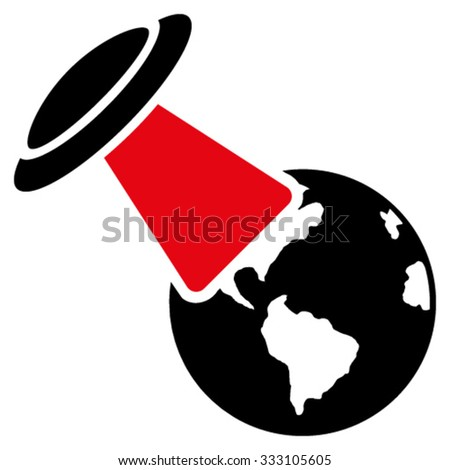 Ufo Explores Earth vector icon. Style is bicolor flat symbol, intensive red and black colors, rounded angles, white background. - stock vector
