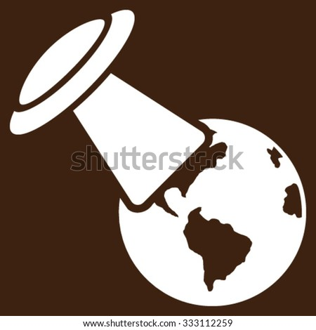 Ufo Explores Earth vector icon. Style is flat symbol, white color, rounded angles, brown background. - stock vector