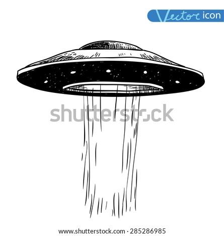 ufo icon, hand drawn vector illustration. - stock vector