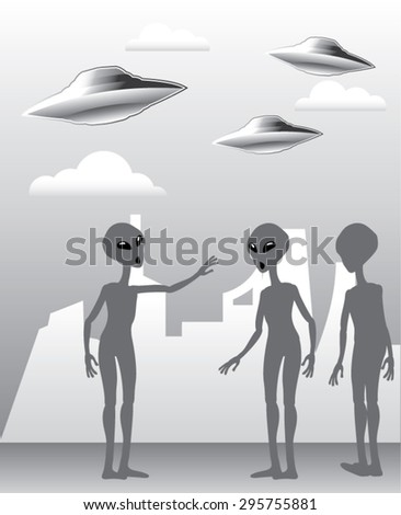 UFO in the sky Aliens On the ground Vector - stock vector