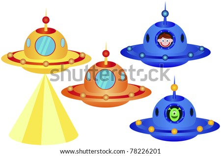 Ufo on a white background, vector illustration - stock vector