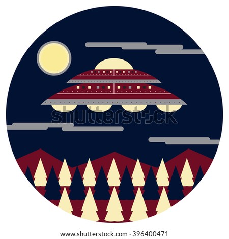UFO on the Sky Vector and Icon - stock vector