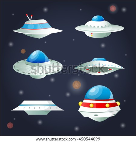 Ufo Set. Spaceship Cartoon Collection. Spacecraft futuristic transportation. Vector Illustration. - stock vector