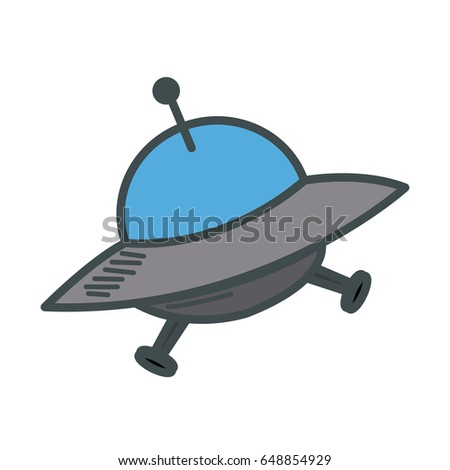Ufo spaceship futurist symbol icon in cartoon style