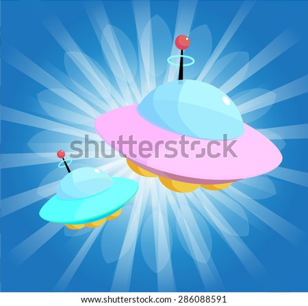 UFO Spaceships Cartoon  - stock vector