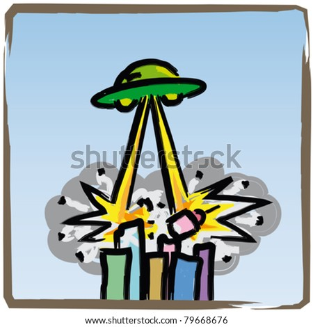 UFO that destroyed - stock vector