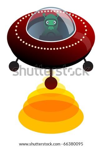 UFO, vector illustration - stock vector