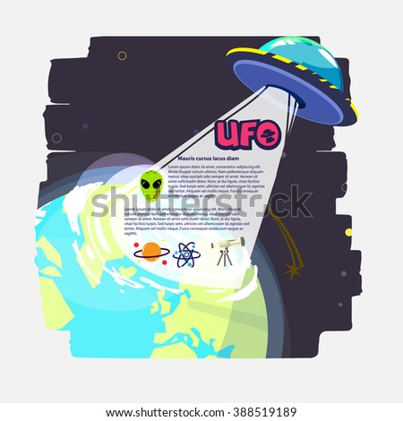 UFO with beam of light over the planet. alien icon set - vector illustration - stock vector