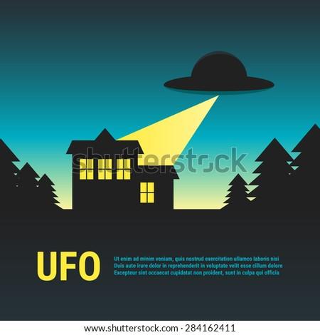 UFO with house in woods. Cartoon brochure. Vector illustration - stock vector