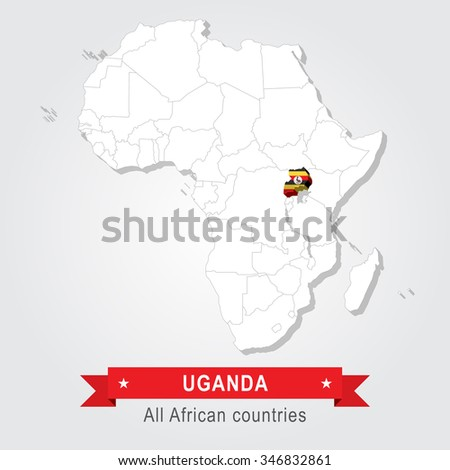 Uganda. All the countries of Africa. Flag version. - stock vector