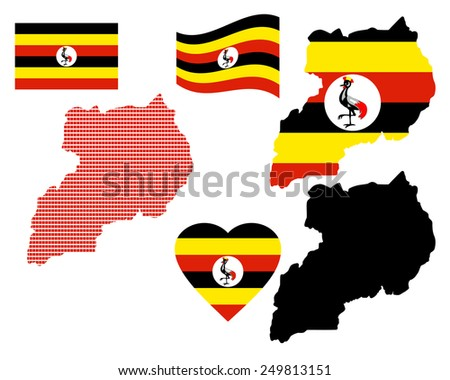 Uganda different card types and characters on a white background  - stock vector