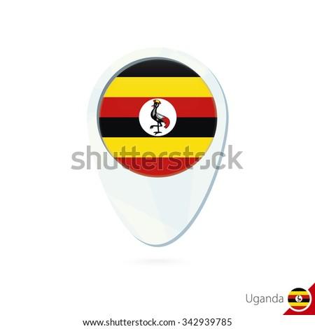 Uganda flag location map pin icon on white background. Vector Illustration. - stock vector