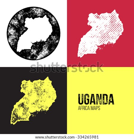 Uganda Grunge Retro Maps - Africa - Three silhouettes Uganda maps with different unique letterpress vector textures - Infographic and geography resource - stock vector