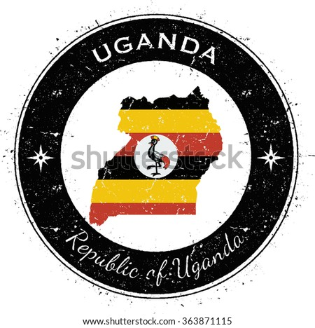 Uganda. Grunge rubber stamp with country flag, map and the Uganda written along circle border, vector illustration - stock vector