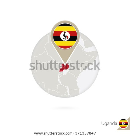 Uganda map and flag in circle. Map of Uganda, Uganda flag pin. Map of Uganda in the style of the globe. Vector Illustration. - stock vector