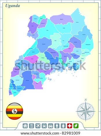 Uganda Map with Flag Buttons and Assistance & Activates Icons Original Illustration - stock vector