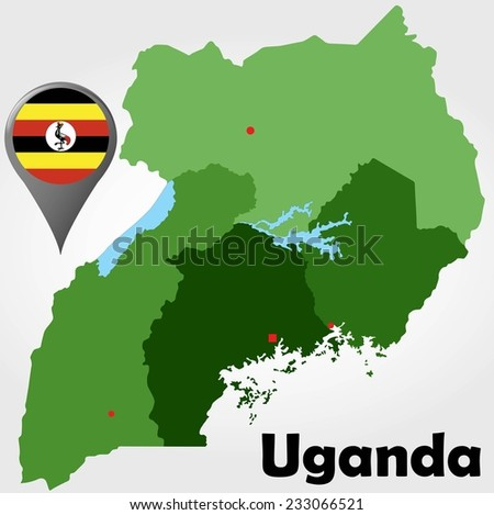Uganda political map with green shades and map pointer. - stock vector