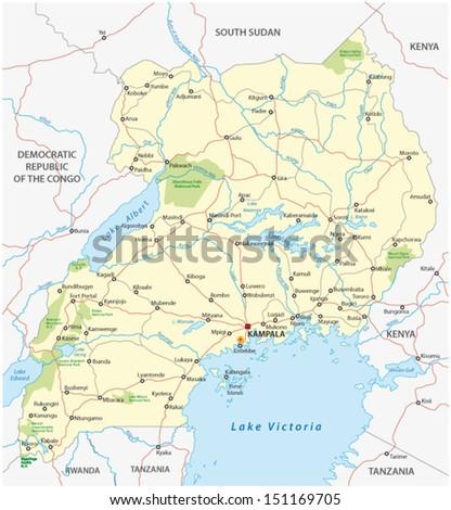 uganda road map - stock vector