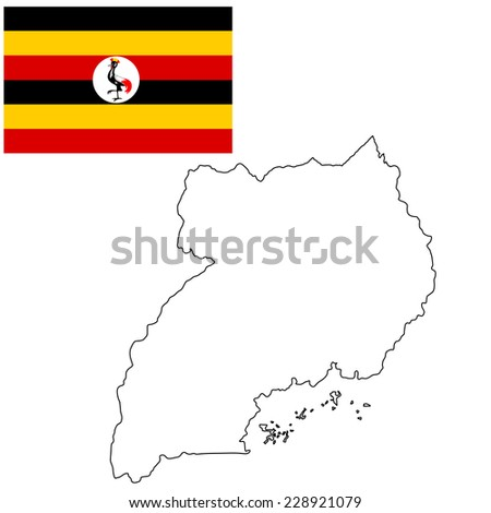 Uganda vector map contour high detailed illustration isolated on white background. Original and simple Uganda flag isolated vector in official colors and Proportion  - stock vector